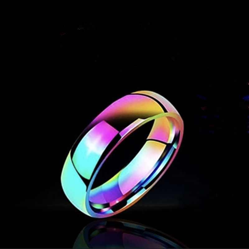 Colorido Arco Iris 316L Acero inoxidable Punk Rock hombres anillo titanio acero anillos para mujeres accesorios suave joyería de moda regalo