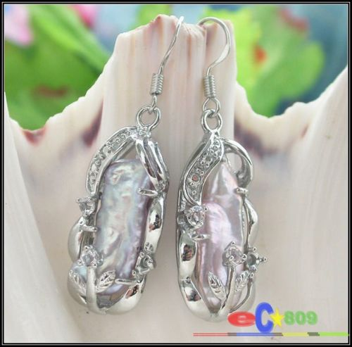 Hot sell Noble- hot sell new - wholesale 22MM DENS lavender BIWA PEARL EARRING