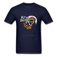 Funny Hip Hop Tee Shirt Eddsworld Kitten Shopping Men's Short Sleeve Tees Shirt Pre-Cotton Men's T Shirts T Shirt Design