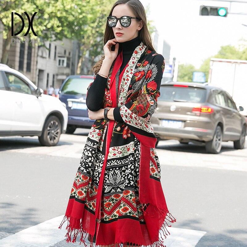 DANA XU 2019 nouvelle écharpe femmes de luxe marque Foulard Femme Pure laine Bufanda Mujer Casaco Feminino Pashmina mode rouge Pashmina