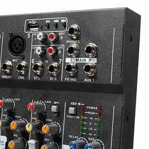 Image 2 - LEORY 7 Channel Digital Microphone Sound Mixer Console 48V Phantom Power Professional Karaoke Audio Mixer Amplifier With USB
