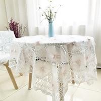 Handmade Crochet Cotton Tablecloth Rustic Garden Tea Table Cloth Home Textile Sofa Cover Table Mat Lace Tablecloth Table Cover