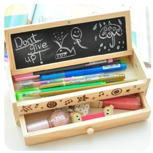 Korea stationery lovely pencil box multifunctional wooden diy small blackboard drawer stationery box wool storage box