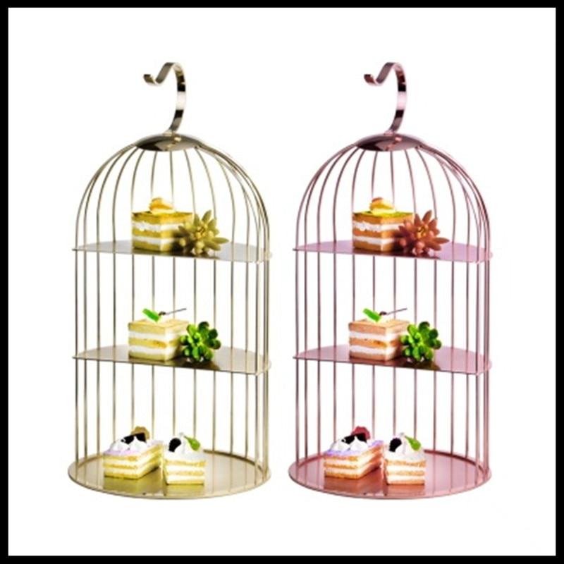 1 pièces Hôtel assiette à fruits acier inoxydable cage à oiseaux collation rack table de buffet trois-couche porte-pâtisserie créative plat pour collation plateau