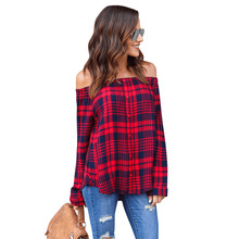 New Arrival White and Black Plaid Womens Tops and Blouses 2017 Sexy Off Shoulder Full Sleeves Slim Blouses OD-8055