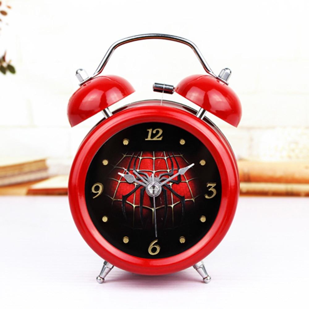 Mode Röd spindelvävstil 3D Metal Bell Väckarklocka Minimalist - Heminredning