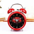 Fashion Red Cobweb Style 3D Metal Bell Alarm Clock Minimalist Desktop Clocks Lazy Watch Clock Home Mini Clock