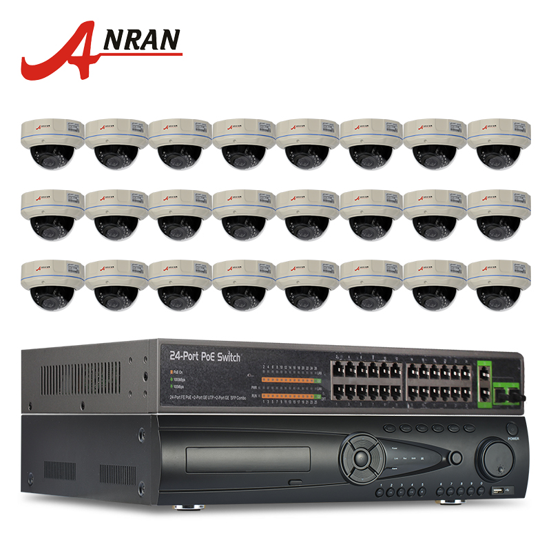 24CH NVR 24CH POE Switch Security CCTV System 9TB HDD+Onvif 1080P 2MP HD H.264 25fps 30IR Outdoor Vandalproof Dome POE IP Camera