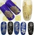 1 x belleza Sheet 3D Metallic calcomanías de flores Nail Art Tips manicura DIY 2016 venta caliente
