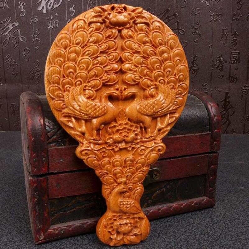 Long Yi sculpture sur bois paon pivoine miroir portable bestie cadeau d'anniversaire cadeau de mariage pour envoyer sa petite amie