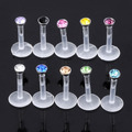 10 pc 16G Mixed Acrílico Cristal CZ Bar Labret Monroe Lip Anel Stud Flesh Penetrante