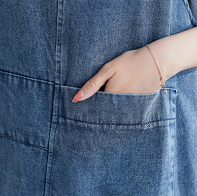 0405 Casual Vintage Sleeveless Denim Dress Women Plus Size Big Pockets Loose Retro Jeans Dress Female V Neck Vestidos Summer in Dresses from Women 39 s Clothing