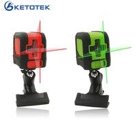 Ketotek mini 2 linhas cruzadas nível laser vertical horizontal vermelho verde feixe auto-nivelamento suporte a laser e caixa de presente