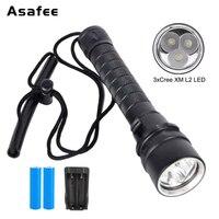 6000LM linterna de buceo antorcha 18650 3x Cree XML2 LED 200M lámpara impermeable subacuática con batería y cargador