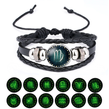 Лидер продаж 12 браслет с изображением созвездия ручной работы из бисера ретро кожаный браслет с созвездием для мужчин Ювелирные изделия Подарки Мстители