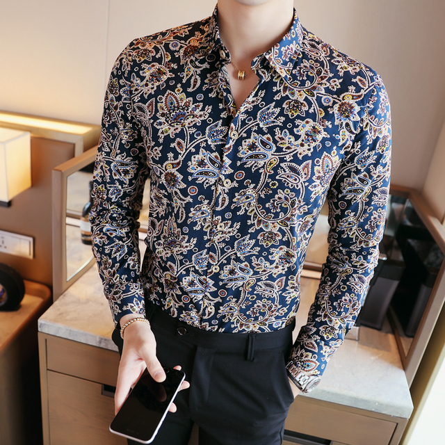 2017 cajou fleur chemises hommes imprim floral chemises mens de luxe camisa slim fit chemise. Black Bedroom Furniture Sets. Home Design Ideas