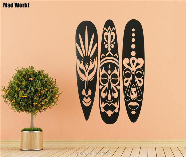 Mad World African Mask Set Huge Silhouette Wall Art Stickers Decal Home Diy Decoration