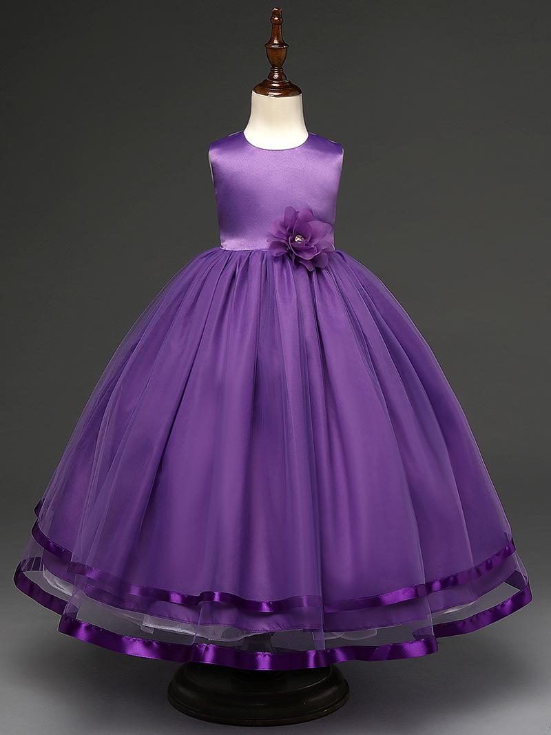Vestidos princesa Niñas vestido de alta calidad sin mangas verano ...