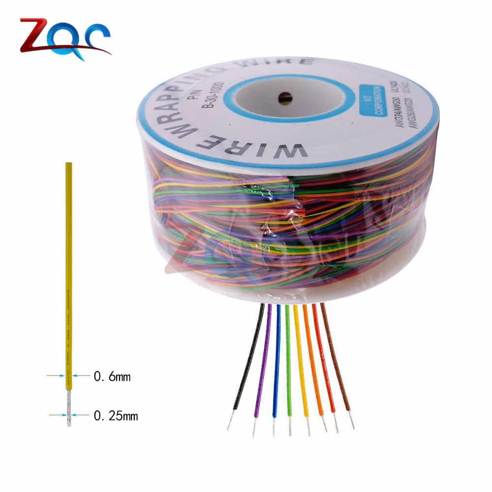 One Roll 8 Colors 30AWG Wire Wrapping Wire Tinned Copper Solid PVC insulation Cable Jumper