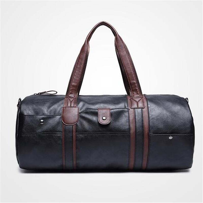High Quality Men Travel Bags Leather Duffle Bag Vintage Men Tote Shoulder Handbags Weekend Bags Large Big Bag qibolu vintage large capacity handbags men shoulder tote bag for travel business sacoche homme bolso hombre bolsa masculina 6002