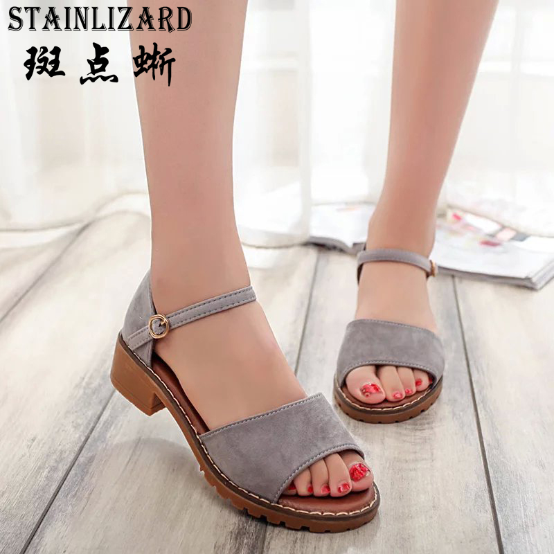 Hot Sale 2016 New Summer One Word Buckle Woman Sandals Cut-outs Belt Buckle Tendon Bottom Fashion Shoes Free Shipping ST330 hot sale free shipping 2015 new men s summer sandals