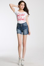 Women Shorts breasted straight hole Fashion Brand Summer Style Women Shorts Cotton Casual female Slim High