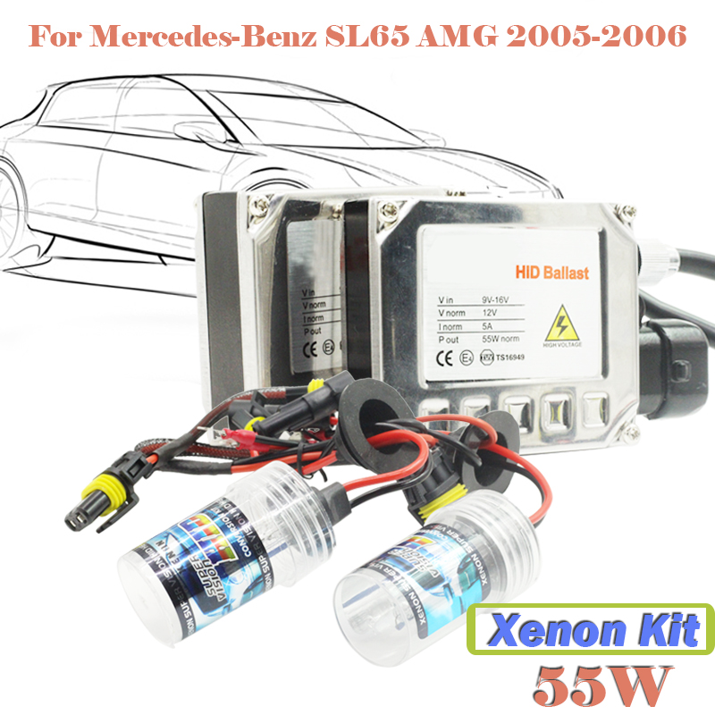 55W Conversion Xenon Kit HID Digital Ballast Bulb DC Car Headlight Head Lamp 3000K-15000K For SL65 AMG 2005-2006  55w xenon hid kit aluminum shell ballast bulb 3000k 15000k car conversion headlight head light for is250 2006 2013