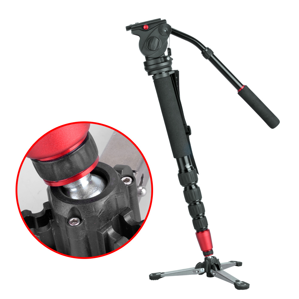 Classical JIEYANG JY0506 Professional Aluminum Alloy Monopod Kit Hydraulic Fluid Head For Video Camera DSLR Camcorder Tripod aluminum alloy professional monopod with mini tripod hydraulic pan tilt head for canon nikon dslr camera recording video