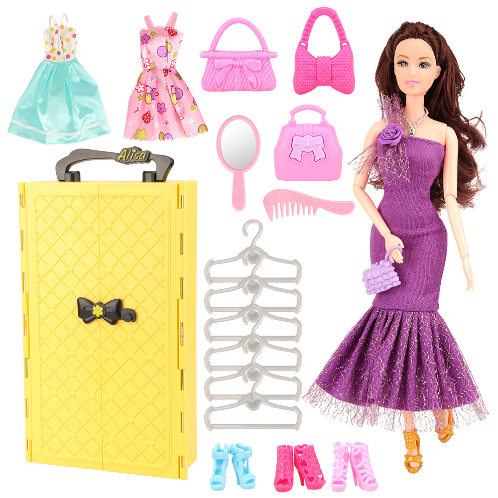 Newest fashion 20 Items set yellow dressing wardrobe doll shoes hanger accessories for 11 5 inch barbie doll best gift in Dolls Accessories from Toys Hobbies
