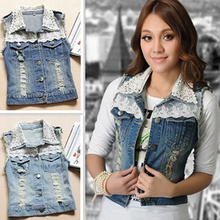 Women's Casual Fashion Lace Collar Slim Vest Jacket Sleeveless Denim Waistcoat