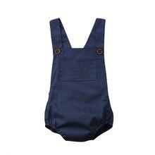 Botão Bolso Azul Marinho Do Bebê Recém-nascido Menino Menina Sunsuit Romper  Macacão Roupas Roupas Roupas de Bebê e69dd580880