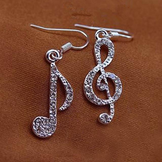 Asymmetric Personality Trendy Music Notes Ear Hook Crystal Silver Color Rhinestone Earring Women Accessory Lady stud Earrings