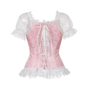 Image 3 - Floreale overbust corsetto della maglia più bustier del corsetto top per le donne con tre quarti maniche di pizzo up broccato cinghia di spalla di corsetto più il formato sexy