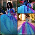 2015 Dreamlike Prom Dress Ball Gown Beadwork Corset Prom Dresses Colorful Crystal Evening Dresses Rainbow Wedding Dresses