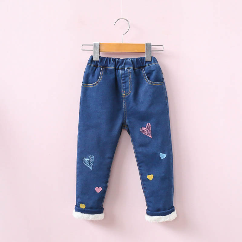 New Arrival Girls Winter Jeans Kids Heart-embroidery Warm Denim Jeans Baby Thick Jeans Girls Winter Trousers Child Warm Pants цены