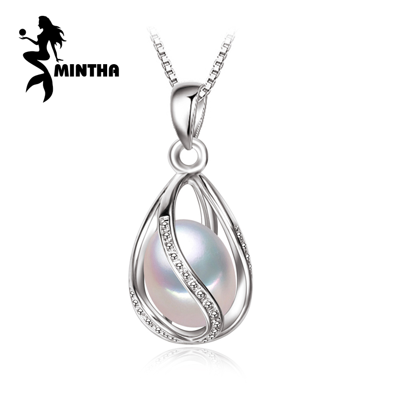 MINTHA Bohemian cage Necklace Pearl Jewelry statement necklaces pendant Pearl brand fashion 925 sterling silver necklace