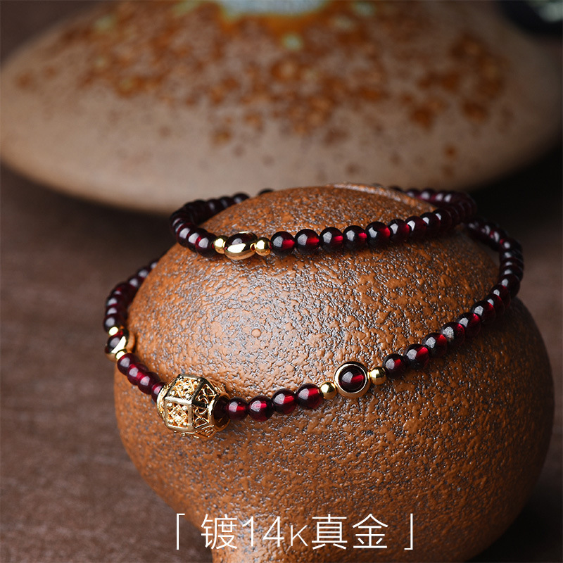 Image 3 - Fashion Handmade natural garnet bracelet women,Luxury vintage elastic bracelet, Ethnic red stone ethnic bracelet-in Strand Bracelets from Jewelry & Accessories