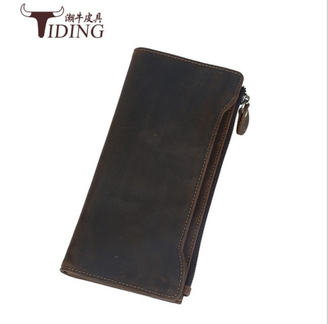 a4fda0a9e70c US $48.0 |2018 Luxury Genuine Leather Man Women Long Slim Wallet Zipper  Female Purse Brand Clutch Phone Coin Photo Credit Card Holder -in Wallets  from ...