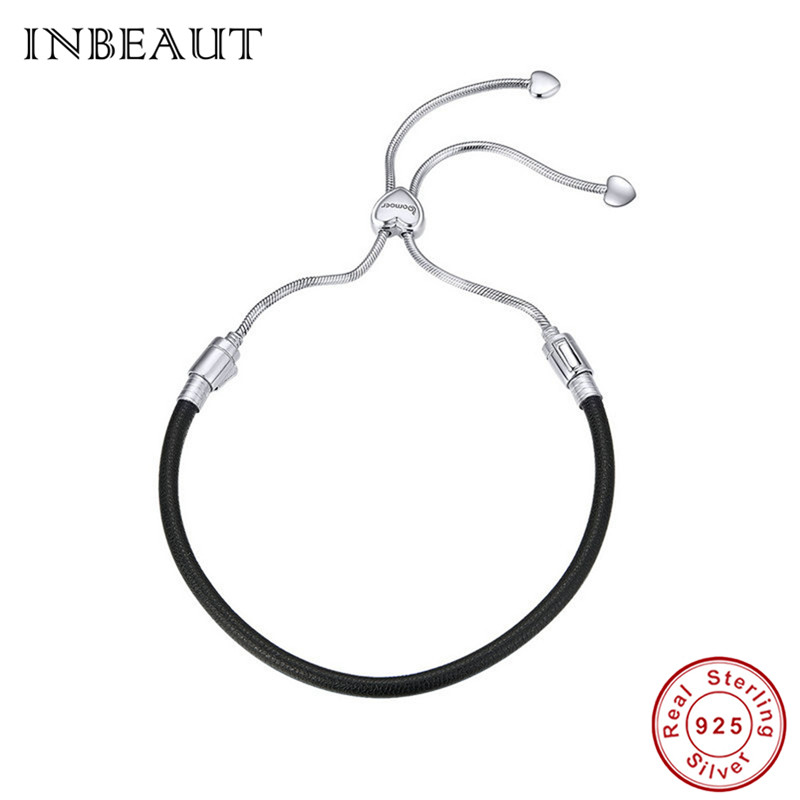 INBEAUT 925 Sterling Silver Genuine Leather Adjustable Chain Handmade Black Rope Bracelet for Women&Men Couple Hand Jewelry Gift
