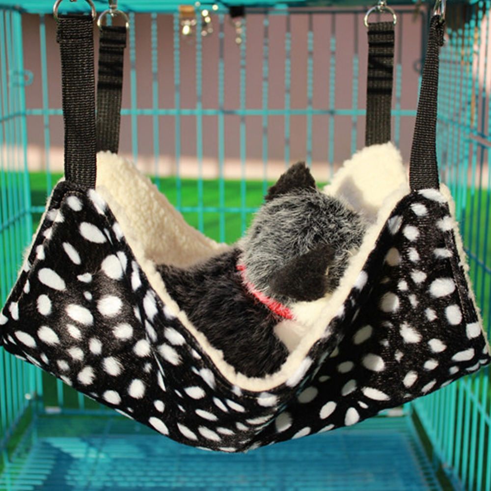 2 Size Dog Cat Hammock Sleeping Bag Cat Small Pet Dogs Puppy Bed Blanket Cat Toys Black Background White Dot Sleeping Mat