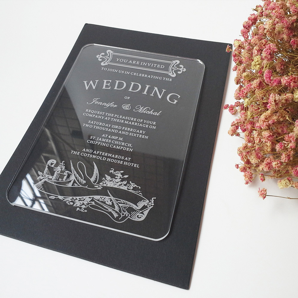 Sample Order For 5*7inch Vintage Swallow Elements Rectangle Shape Clear Acrylic  Wedding Invitations(