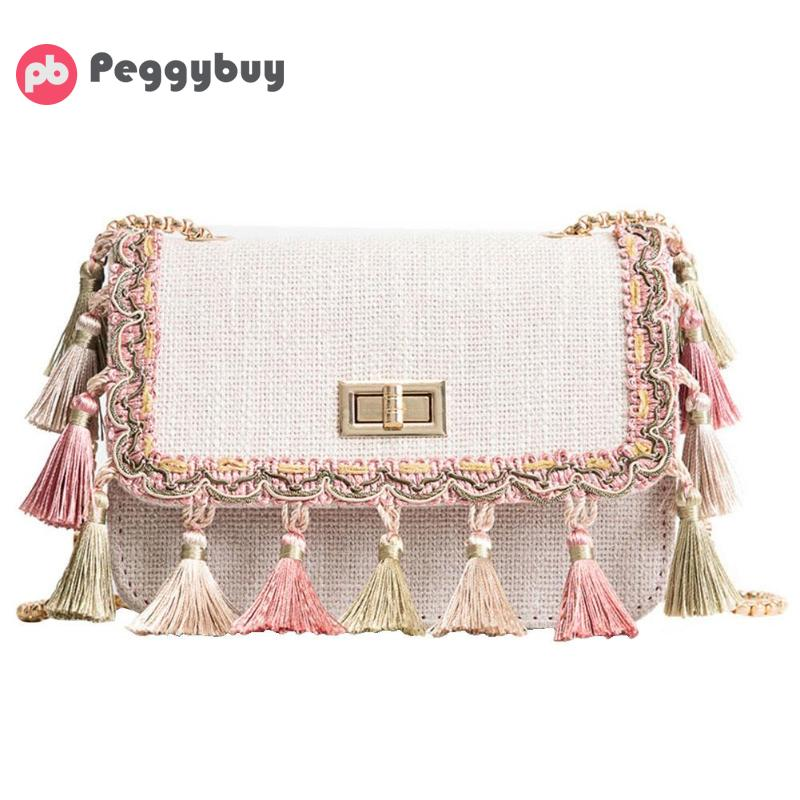 Elegant Women Messenger Bag Shoulder Bag Ladies Crossbody Bags Tassel Chain Strap Small Square Flap
