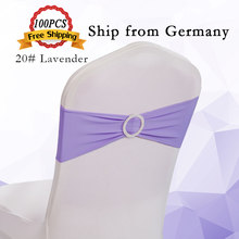 Germany Sent 100PCS Spandex Chair Band With Buckle Wedding Chair Ties Hotel Banquet Chair Bow Multicolor Chair Sashes Decoration(China)