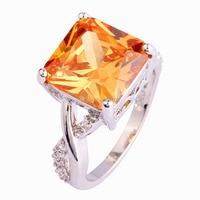 Wholesale Fashion Women Jewelry Rings Princess Cut Morganite & White Sapphire 925 Silver Ring Size 6 7 8 9 10 Free Shipping