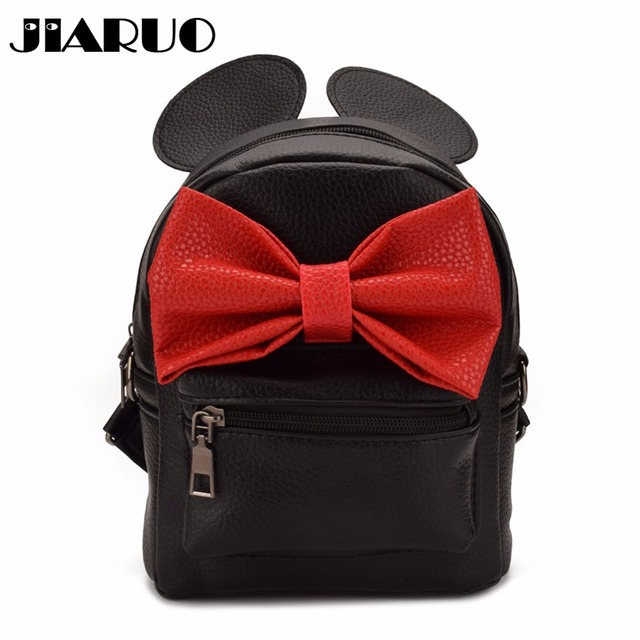 JIARUO Cute Bow Women Leather Backpack Daily back pack For girl Ladies  mouse mini school bag 1726fd91c3