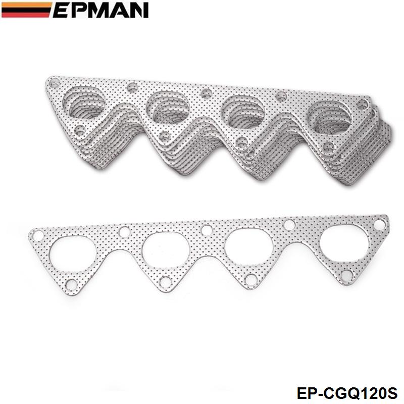 10PCS/LOT For <font><b>Honda</b></font> Integra <font><b>Civic</b></font> Crx B16 <font><b>B16A</b></font> B18 Aluminum Graphite Exhaust Manifold Header Gasket EP-CGQ120S image