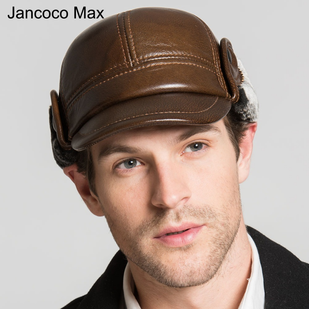 Jancoco Max 2017 Winter Spring Warm Cotton Earflaps Baseball Caps Genuine Cowhide Leather Hats Brand New S3053 wireless restaurant calling system 5pcs of waiter wrist watch pager w 20pcs of table buzzer for service