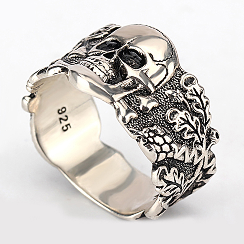 925 Sterling Silver Skull Men Ring Walking Evil Demon Vintage Punk Rock Style Cool Skull Ring for Men Fashion Jewelry 925 sterling silver bracelets for men skull bracelet vintage punk rock gothic bague fashion men cool exaggerated fine jewelry
