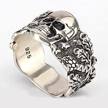 925 sterling silver Mens Walking Evil Skull Ring Silver Cool Man Skull Ring jewelry newest design fire flaming skull ring 925 sterling silver cool fashion men biker skull head ring