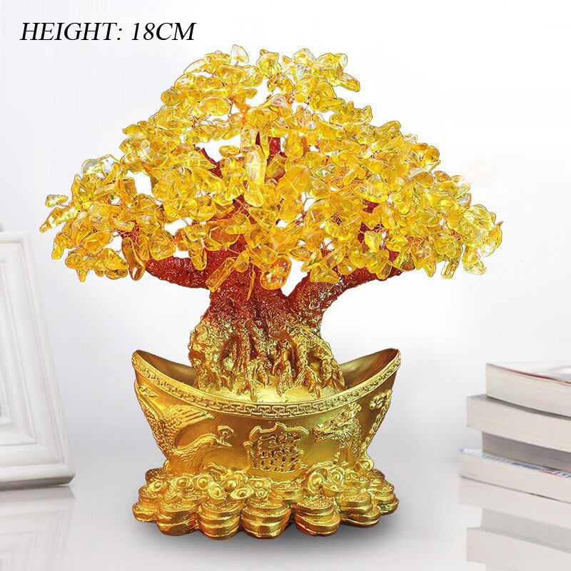 Lucky Money Tree Chinese Gold Ingot Crystal Fortune Tree Ornament Wealth Ornament Home Office Table Decoration Tabletop Crafts